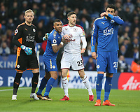 Burnley's Stephen Ward closely marked by Leicester City's goalkeeper Kasper Schmeichel and Danny Simpson as they wait for a corner kick to be taken<br /> <br /> Photographer Stephen White/CameraSport<br /> <br /> The Premier League - Leicester City v Burnley - Saturday 2nd December 2017 - King Power Stadium - Leicester<br /> <br /> World Copyright © 2017 CameraSport. All rights reserved. 43 Linden Ave. Countesthorpe. Leicester. England. LE8 5PG - Tel: +44 (0) 116 277 4147 - admin@camerasport.com - www.camerasport.com<br /> <br /> Photographer Stephen White/CameraSport<br /> <br /> The Premier League - Leicester City v Burnley - Saturday 2nd December 2017 - King Power Stadium - Leicester<br /> <br /> World Copyright © 2017 CameraSport. All rights reserved. 43 Linden Ave. Countesthorpe. Leicester. England. LE8 5PG - Tel: +44 (0) 116 277 4147 - admin@camerasport.com - www.camerasport.com