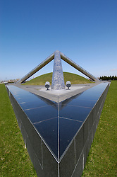 Modern art installation called Tetra Mound at Moerenuma Park in Sapporo Japan