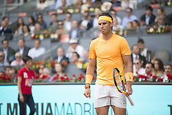 May 11, 2018 - Madrid, Madrid, Spain - RAFAEL NADAL checks where the ball hit in a match against DOMINIC THIEM during the quarter finals of Mutua Madrid Open 2018 - ATP in Madrid. DOMINIC THIEM won the match 7-5(3) 6-3. (Credit Image: © Patricia Rodrigues via ZUMA Wire)