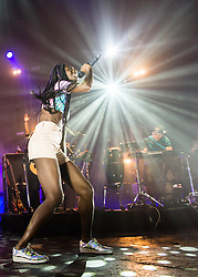 © Licensed to London News Pictures. 15/02/2014. London, UK.   Rudimental performing live at Brixton Academy. In this picture - Bridgette Amofah.   Rudimental are an English electronic music quartet consisting of members Piers Agget,Kesi Dryden, Amir Amor,DJ Locksmith.    Photo credit : Richard Isaac/LNP