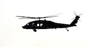 Silhouette of an Israeli Air force Black Hawk helicopter, Sikorsky S-70 UH-60 On white Background