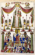 Virgin Mary as Queen of Heaven (top); Priest celebrating Mass (Eucharist. Communion) at bottom. French 19th century coloured woodcut.