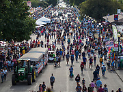 "14 AUGUST 2019 - DES MOINES, IOWA: The ""Grand Concourse,"" which is the main entry way at the Iowa State Fair. The Iowa State Fair is one of the largest state fairs in the U.S. More than one million people usually visit the fair during its ten day run. The 2019 fair run from August 8 to 18.                PHOTO BY JACK KURTZ"