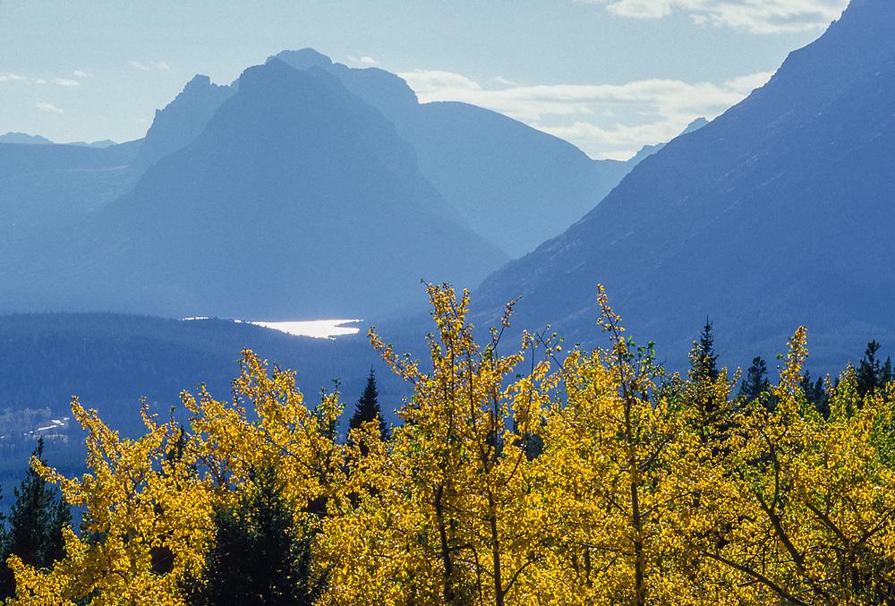 Upper Two Medicine Lake, Mount Sinopah, autumn, Montana, USA