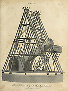 William Herschel's 40 foot reflecting telescope Copperplate engraving From the Encyclopaedia Londinensis or, Universal dictionary of arts, sciences, and literature; Volume XVII;  Edited by Wilkes, John. Published in London in 1820