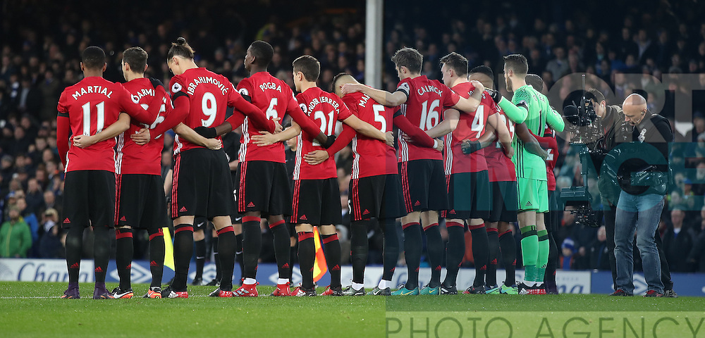 Manchester United team group in a minutes silence for the Chapecoense air crash before  the Premier League match at Goodison Park, Liverpool. Picture date: December 4th, 2016.Photo credit should read: Lynne Cameron/Sportimage