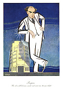 """Prospero. """"The isle is full of noises, sounds and sweet airs, that give delight."""" (a cartoon shows a giant BBC Direct-General towering above the BBC headquarters in London)"""