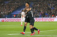 Juan Bernat of Paris Saint-Germain celebrates his goal 1-1 during the Champions League Round of 16 2nd leg match between Paris Saint-Germain and Manchester United at Parc des Princes, Paris, France on 6 March 2019.