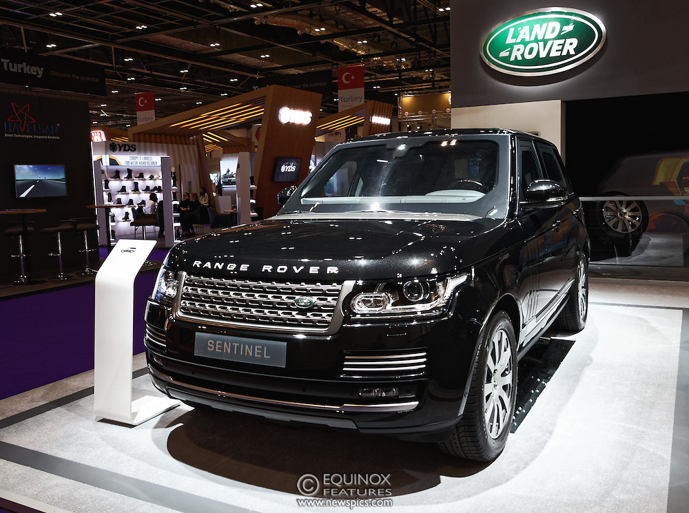 London, United Kingdom - 18 September 2015<br /> Land Rover display their new armoured vehicles, the £300,000 Range Rover Sentinel and the £160,000 Land Rover Discovery Sentinel which is set to be the new standard for UK government vehicle protection, at the defence and security exhibition DSEI at ExCeL, Woolwich, London, England, UK.<br /> (photo by: EQUINOXFEATURES.COM)<br /> <br /> Picture Data:<br /> Photographer: Equinox Features<br /> Copyright: ©2015 Equinox Licensing Ltd. +448700 780000<br /> Contact: Equinox Features<br /> Date Taken: 20150918<br /> Time Taken: 14132426<br /> www.newspics.com