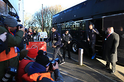6th January 2018 - FA Cup - 3rd Round - Fleetwood Town v Leicester City - Former Fleetwood striker Jamie Vardy of Leicester is the centre of attention as he steps off the team bus ahead of the match - Photo: Simon Stacpoole / Offside.
