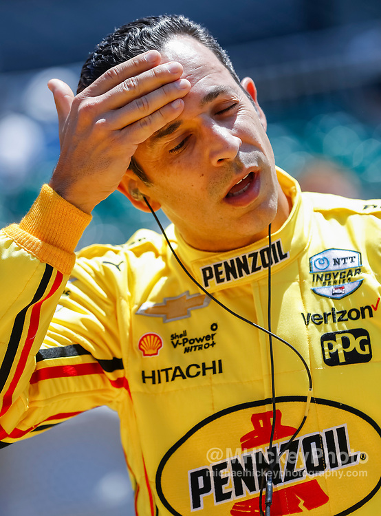 INDIANAPOLIS, IN - MAY 18: Helio Castoneves #3 of Brazil and Team Penske, is seen at the Indianapolis Motor Speedway on May 18, 2019 in Indianapolis, Indiana. (Photo by Michael Hickey/Getty Images)