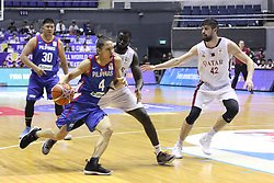 September 17, 2018 - Quezon City, NCR, Philippines - Ale Cabagnot (Blue) of the Philippines tries to get past Nasser Khaifa Al-Rayes (White) of Qatar. (Credit Image: © Dennis Jerome S. Acosta/Pacific Press via ZUMA Wire)