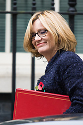 Downing Street, London, October 27th 2015.  Secretary of State for Energy and Climate Change Amber Rudd arrives at 10 Downing Street to attend the weekly cabinet meeting. /// Licencing: Paul Davey tel: 07966016296 or 02089696875 paul@pauldaveycreative.co.uk www.pauldaveycreative.co.uk