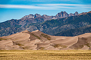 Dunes rise up to 750 feet tall in Great Sand Dunes National Park and Preserve, on the eastern edge of San Luis Valley, Sangre de Cristo Range, south-central Colorado, USA.