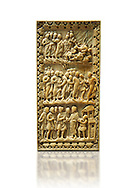 Medieval ivory relief panel depicting the arrest of Christ.  From the workshop of Charles-le-Chauve circa 870 AD.. Inv. OA 9526, The Louvre Museum, Paris. .<br /> <br /> If you prefer you can also buy from our ALAMY PHOTO LIBRARY  Collection visit : https://www.alamy.com/portfolio/paul-williams-funkystock/romanesque-art-antiquities.html . Type-     Fasillar      - into the LOWER SEARCH WITHIN GALLERY box. Refine search by adding background colour, place, museum etc<br /> <br />  Visit our MEDIEVAL PHOTO COLLECTIONS for more   photos  to download or buy as prints https://funkystock.photoshelter.com/gallery-collection/Medieval-Romanesque-Art-Antiquities-Historic-Sites-Pictures-Images-of/C0000uYGQT94tY_Y