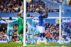 Everton's Romelu Lukaku grabs the net in frustration - Mandatory byline: Matt McNulty/JMP - 07966386802 - 23/08/2015 - FOOTBALL - Goodison Park -Everton,England - Everton v Manchester City - Barclays Premier League