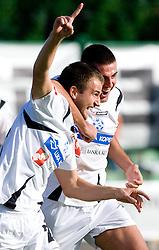Radujko Dalibor and Ivica Guberac of Koper celebrate after goal at the football match Interblock vs NK Luka Koper in 12th Round of Prva liga 2009 - 2010,  on October 03, 2009, in ZSD Ljubljana, Ljubljana, Slovenia. Luka Koper won 1:0.  (Photo by Vid Ponikvar / Sportida)