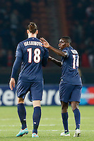 FOOTBALL - CHAMPIONS LEAGUE 2012/2013 PSG VS ZAGREB - 06/11/2012 - ZLATAN IBRAHIMOVIC (PARIS SAINT-GERMAIN), BLAISE MATUIDI (PARIS SAINT-GERMAIN)