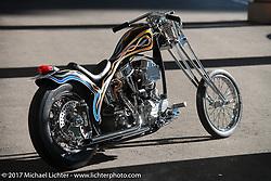 "Cherry's Company's Kaichiroh ""Kross"" Kurosu's custom 1949 Harley-Davidson Panhead at Mooneyes 26th Annual Yokohama Hot Rod and Custom Show. Yokohama, Japan. Saturday December 2, 2017. Photography ©2017 Michael Lichter."