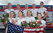 Amsterdam. NETHERLANDS.   USA W8+. Bow Victoria OPITZ, Meghan MUSNICKI, Amanda POLK, Lauren SCHMETTERLING, Grace LUCZAK, Caroline LIND, Eleanor LOGAN Heidi ROBBINS and cox Katelin SNYDER. Gold medalist Women's Eight. .  De Bosbaan Rowing Course, venue for the 2014 FISA  World Rowing. Championships. 14:20:29  Sunday  31/08/2014.  [Mandatory Credit; Peter Spurrier/Intersport-images]