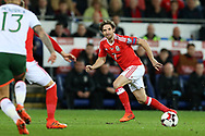 Joe Allen of Wales in action. Wales v Rep of Ireland , FIFA World Cup qualifier , European group D match at the Cardiff city Stadium in Cardiff , South Wales on Monday 9th October 2017. pic by Andrew Orchard, Andrew Orchard sports photography