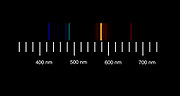 The atomic emission spectra of Helium gas. <br />Helium vapor emission spectroscopy. Emission spectroscopy examines the wavelengths of photons emitted by atoms or molecules during their transition from an excited state to a lower energy state.