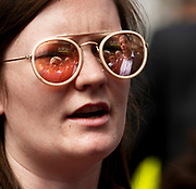 17/05/2019 Reflection of  MEP Candidate Maria Walsh got a big push from party leader and Taoiseach Leo Varadkar in Galway  as the team canvassed the town. Photo:Andrew Downes, Xposure