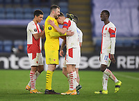 Football - 2020 / 2021 Europa League - Round of 32 - Second Leg - Leicester City vs Slavia Prague - King Power Stadium<br /> <br /> Slavia Prague's Ondrej Kolar with Slavia Prague's Lukas Provod at the end pf the game.<br /> <br /> COLORSPORT/ASHLEY WESTERN