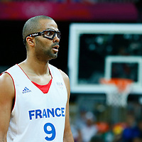 06 August 2012: France Tony Parker looks surprised during 79-73 Team France victory over Team Nigeria, during the men's basketball preliminary, at the Basketball Arena, in London, Great Britain.