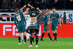 Klaas Jan Huntelaar #9 of Ajax, Donny van de Beek #6 of Ajax, Daley Blind #17 of Ajax after the semi final KNVB Cup between FC Utrecht and Ajax Amsterdam at Stadion Nieuw Galgenwaard on March 04, 2020 in Amsterdam, Netherlands