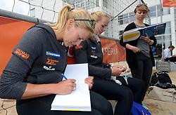 20150618 NED: WK Beach volleybal boek presentatie, Den Haag<br /> Ter gelegenheid van het WK Beachvolleybal in Nederland is vandaag het boek 'In de ban van Beachvolleybal' verschenen. Het bijna 250 pagina's dikke boek gaat over de roots, de ontwikkeling en het succes van beachvolleybal in Nederland / Marleen van Iersel, Madelein Meppelink