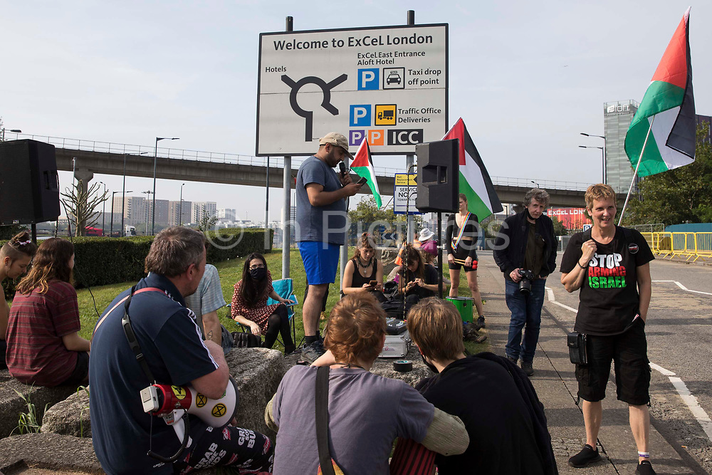 Human rights activists protest outside ExCeL London against the DSEI 2021 arms fair on 6th September 2021 in London, United Kingdom. The first day of week-long Stop The Arms Fair protests outside the venue for one of the worlds largest arms fairs was hosted by activists calling for a ban on UK arms exports to Israel.