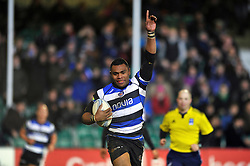 Semesa Rokoduguni (Bath) celebrates as he runs in his second try of the match - Photo mandatory by-line: Patrick Khachfe/JMP - Tel: Mobile: 07966 386802 16/01/2014 - SPORT - RUGBY UNION -  The Recreation Ground, Bath - Bath Rugby v Bordeaux-Begles - Amlin Challenge Cup.