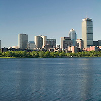 view of Boston's historic Backbay area, from Cambridge. John Hancock and Prudential buildings can be seen.