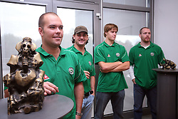 Kevin Mitchell, Frank Banham, Jure Kralj and Andrej Tavzelj at meeting of HD Tilia Olimpija with slovenian journalists before the new season,  on September 15, 2008 in Tivoli, Ljubljana, Slovenia.  (Photo by Vid Ponikvar / Sportal Images)