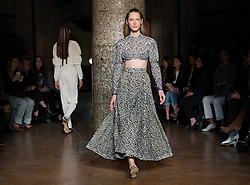 Models during the Emilia Wickstead Autumn/Winter 2017 London Fashion Week show at The College, London. PRESS ASSOCIATION. Picture date: Saturday February 18, 2017. Photo credit should read: Isabel Infantes/PA Wire