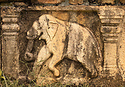 Elephant relief in the ruins of the old city.<br /> (Photo by Matt Considine - Images of Asia Collection)