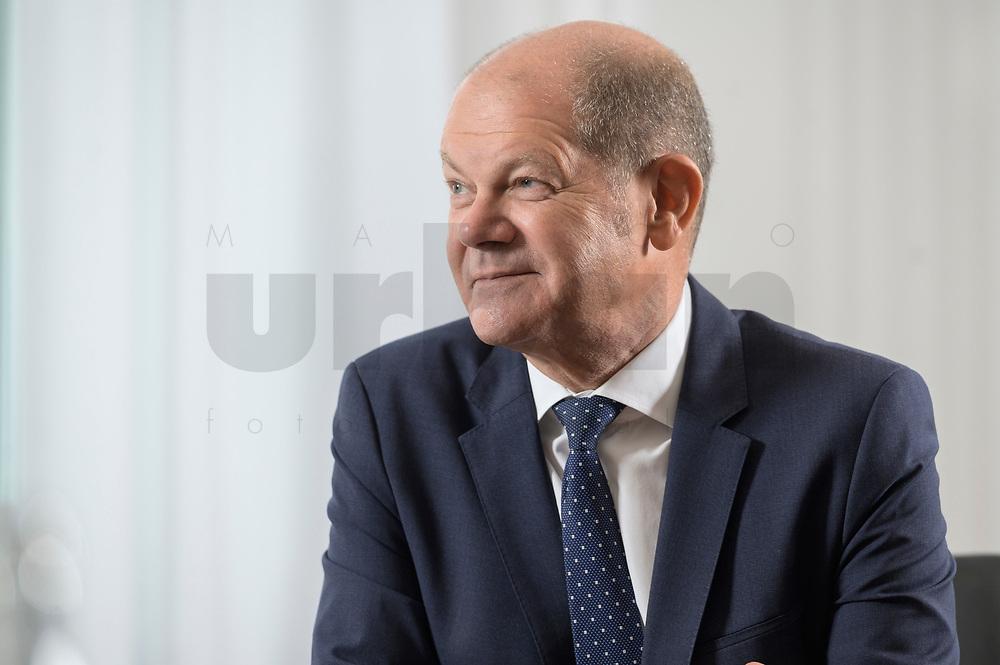 28 AUG 2020, BERLIN/GERMANY:<br /> Olaf Scholz, SPD, Bundesfinanzminister, waehrend einem Interview, Bundesministerium der Finanzen<br /> IMAGE: 20200828-01-002
