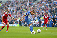 Brighton defender, full back, Liam Rosenior shoots at goal  during the Sky Bet Championship match between Brighton and Hove Albion and Cardiff City at the American Express Community Stadium, Brighton and Hove, England on 3 October 2015. Photo by Phil Duncan.