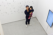 Artist Ryo Shimizu at his solo show at the Loko Gallery Tokyo February 2018