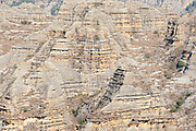 View of escarpment, Isalo National Park, Madagascar, variety of terrain, including sandstone formations, deep canyons,