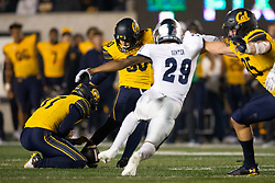 California kicker Dario Longhetto (30) attempts a 30-yard field goal against Nevada during the fourth quarter of an NCAA college football game, Saturday, Sept. 4, 2021, in Berkeley, Calif. The kick was no good. (AP Photo/D. Ross Cameron)