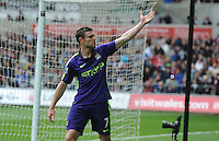 CELE - Manchester City's James Milner celebrates scoring his sides second goal <br /> <br /> Photographer Ashley Crowden/CameraSport<br /> <br /> Football - Barclays Premiership - Swansea City v Manchester City - Sunday 17th May 2015 - Liberty Stadium - Swansea<br /> <br /> © CameraSport - 43 Linden Ave. Countesthorpe. Leicester. England. LE8 5PG - Tel: +44 (0) 116 277 4147 - admin@camerasport.com - www.camerasport.com