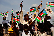 Supporter os Salva Kiir the president of South Sudan cheer at an election rally in Juba.