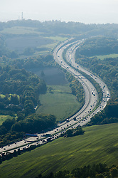 © under license to London News Pictures.  File picture dated 11/10/2010. M25 motorway in Surrey. The M25 will tomorrow (29/10/2011) be 25 years old. 117-mile London Orbital motorway was opened by then Prime Minister Margaret Thatcher on October 29, 1986. Photo credit: London News Pictures.