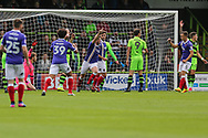 Exeter City's Pierce Sweeney(2) scores a goal 1-0 and celebrates during the EFL Sky Bet League 2 match between Forest Green Rovers and Exeter City at the New Lawn, Forest Green, United Kingdom on 9 September 2017. Photo by Shane Healey.