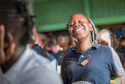 4 November 2019, Vriginia, Liberia: A student bursts out in laughter. The Liberia Baptist Convention runs Ricks Institute, a day and boarding school for currently 496 students from kindergarten up through 12th grade.