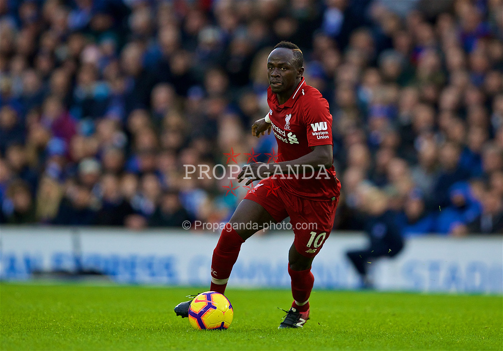 BRIGHTON AND HOVE, ENGLAND - Saturday, January 12, 2019: Liverpool's Sadio Mane during the FA Premier League match between Brighton & Hove Albion FC and Liverpool FC at the American Express Community Stadium. (Pic by David Rawcliffe/Propaganda)
