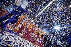 National champions team KK Helios during  medal ceremony after  basketball match between KK Zlatorog and KK Helios Suns in 4th match of Nova KBM Slovenian Champions League Final 2015/16 on June 5, 2016 in Dvorana Komunalnega centra, Domzale, Slovenia Photo by Grega Valancic / Sportida