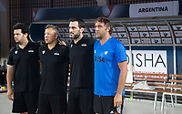 BHUBANESWAR -  Hockey World League finals ,  .Team Argentina.  Line up. Argentina v Spain .  coach Carlos Retegui (Arg) , manager , Team Argentina. COPYRIGHT KOEN SUYK